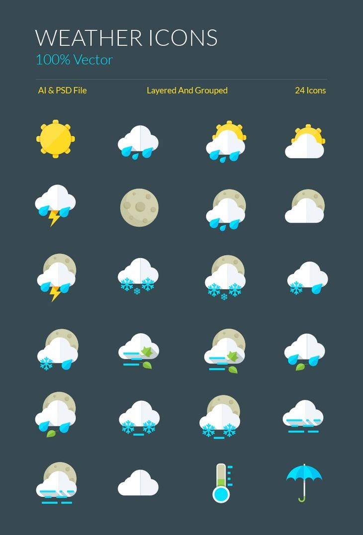 Weather Icons and Symbols – graphberry.com