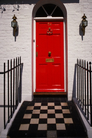 : Red Doors, Checkered Floors, The Doors, Checkered Black, London Townhouse, Knock Knock, Red Front Doors, Black White Red, Doors Knockers