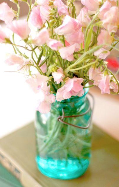 =): Ball Jars, Blue Mason Jars, Pink Flowers, Vase, Canning Jars, Birthday Sweet, Blue Jars, Pale Pink, Sweet Peas