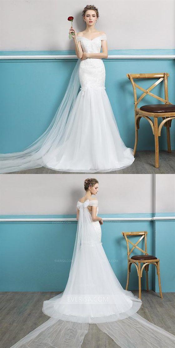 e64d97fc72c White Off Shoulder Lace Appliques Wedding Dresses