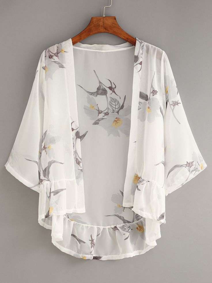 Shop White Flower Print Ruffle Chiffon Kimono online. SheIn offers White Flower Print Ruffle Chiffon Kimono & more to fit your fashionable needs.
