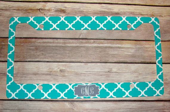Custom License Plate Frame Teal Quatrefoil by ColleyvineDesign, $20.00