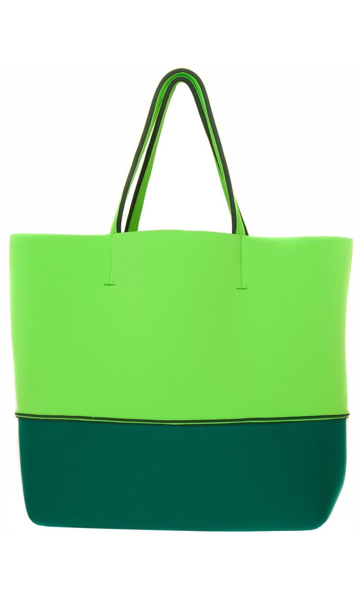 Leghilà Bi-color neoprene Beach Bag - two tone green #bag