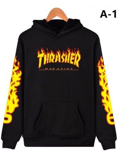 6fddd23259ca Unisex Hooded THRASHER Flame Printed Long Sleeve Sweatshirt with One Pocket  Sweatshirts Coat  Chic220475