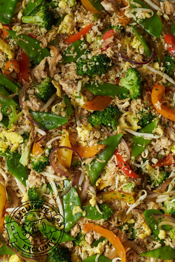 Rocco DiSpirito's Turkey Fried 'Rice' 8 oz. lean ground turkey ½ head cauliflower, grated in food processor until it resembles rice ½ tsp. kosher salt 6 cups fresh stir-fry vegeta…