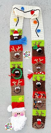 The pattern includes easy to follow instructions for making the scarf as shown, a santa scarf, a Christmas lights scarf, and a quilt block.
