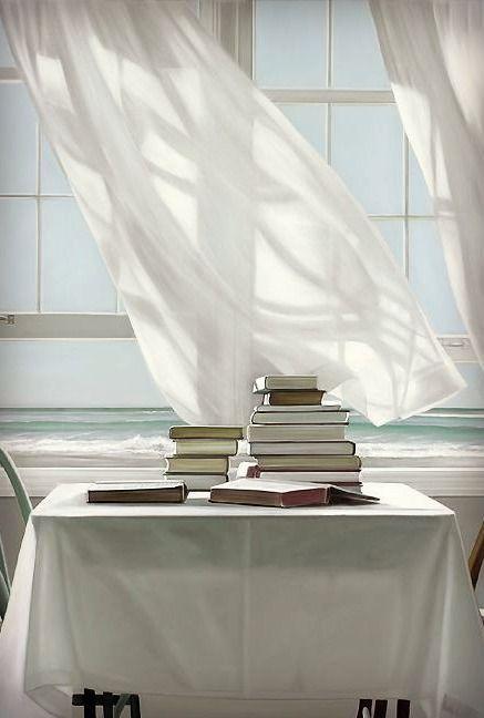 Beach Read, oil painting y Karen Hollingsworth