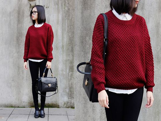 I love that purse...  Red as wine (by IAN CHEN) http://lookbook.nu/look/4357229-red-as-wine