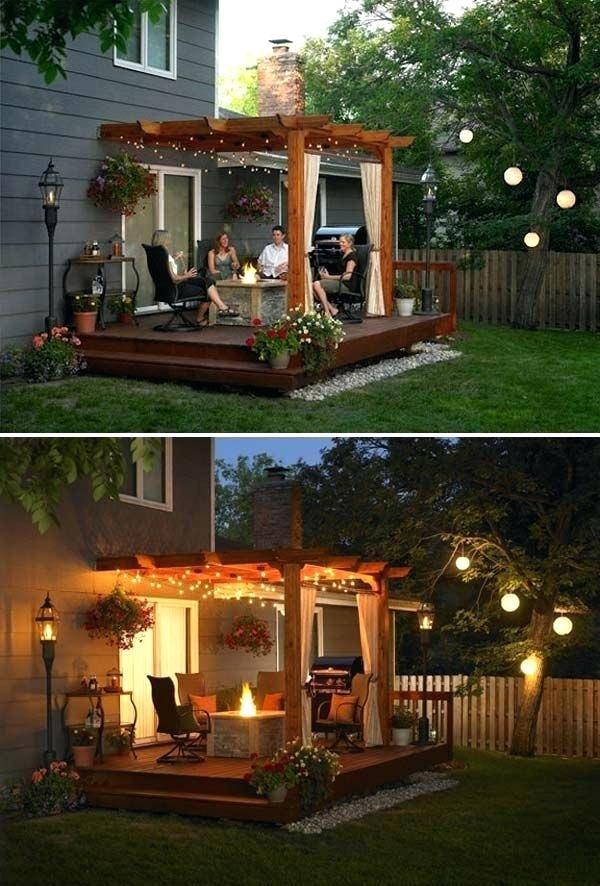 15 Diy Backyard And Patio Lighting Projects Backyard Deck Ideas With Above  Ground Pool Cheap Backyard