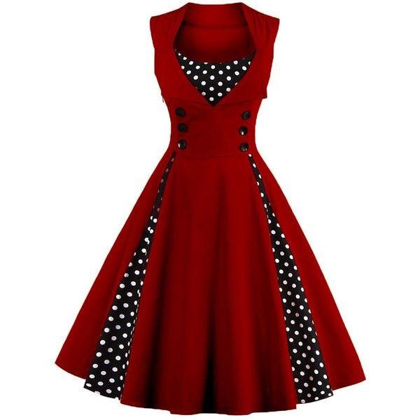 Polka Dot Retro Corset A Line Dress