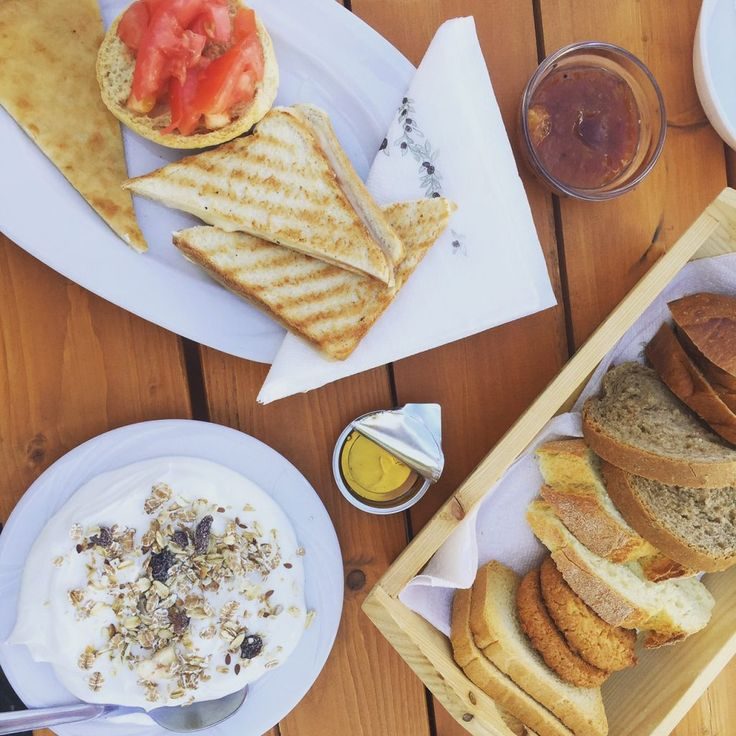 A delicious breakfast in Batsi, on the Island of Andros in Greece