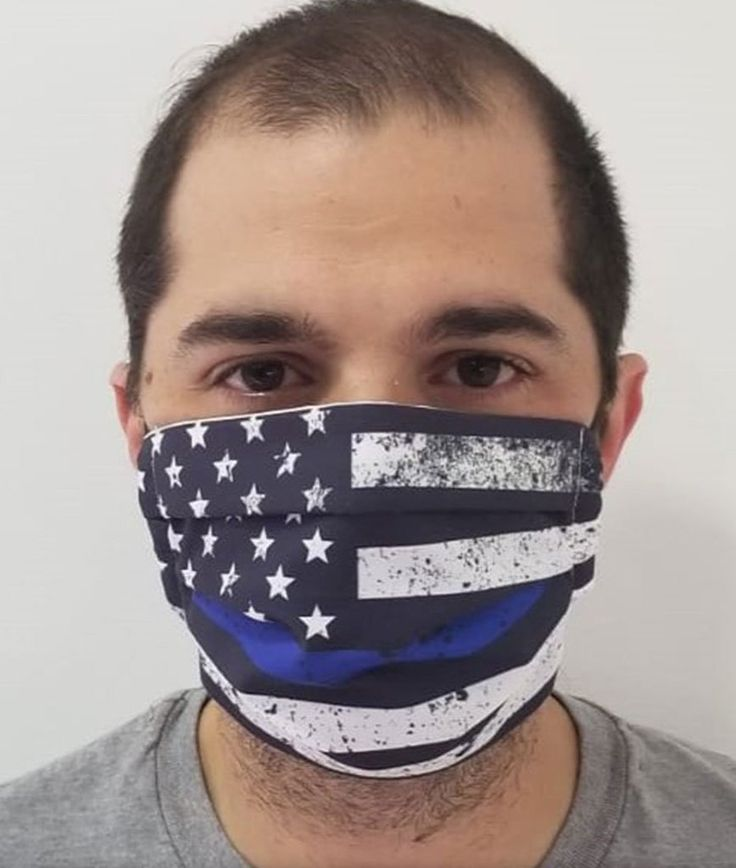 Blue Thin Line Flag Face Mask with builtin filter in 2020