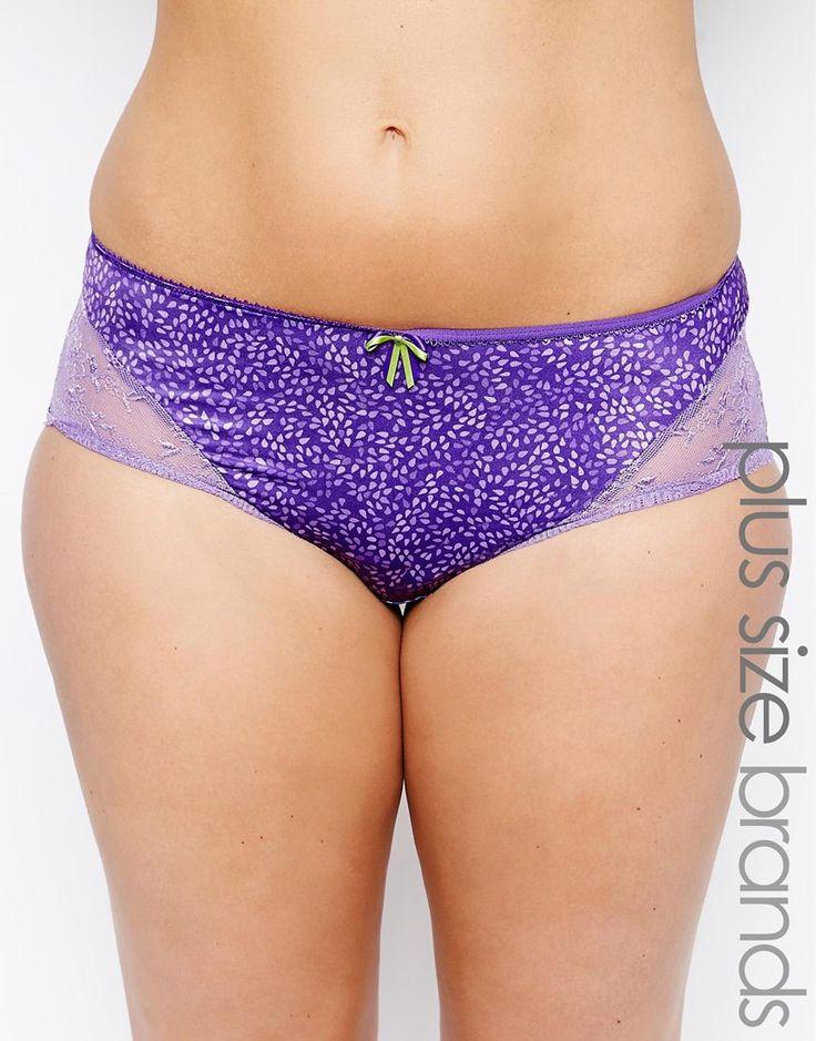 Culotte grande taille par Elomi Article fabriqué en tissu stretch à imprimé Taille basse Empiècements en dentelle transparente sur les côtés