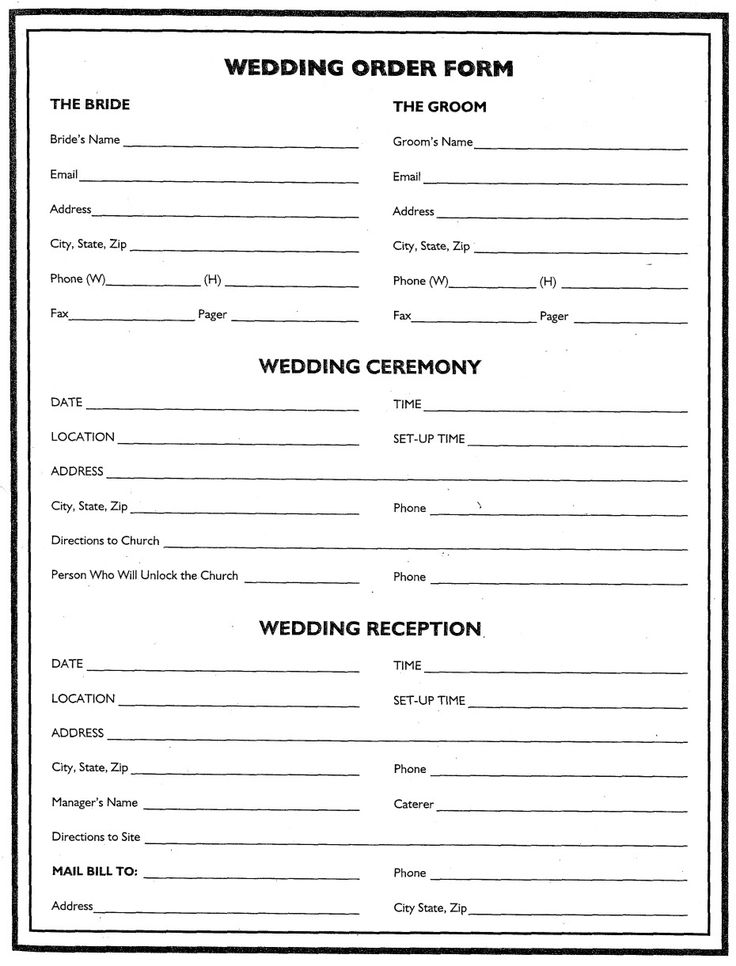 Wedding Flower Planner Wedding Order Form Wedding
