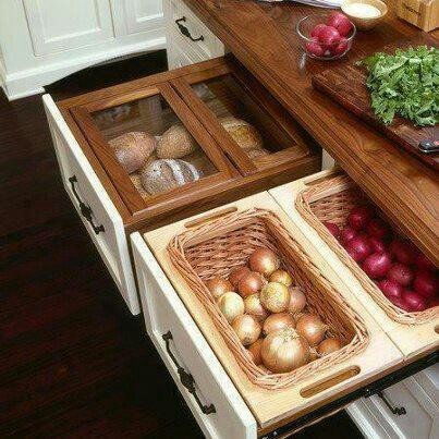 Great way to store veggies that don't need refrigeration