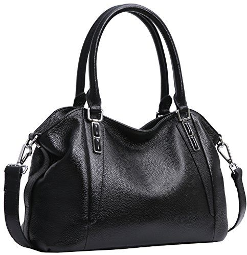 Iswee Women's Leather Handbags Shoulder Bag Satchel Tote Purses Fashion Design for Ladies and girls(Black