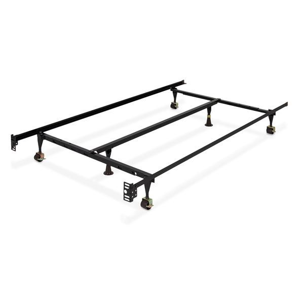 Adjustable Metal Bed Frame W Center Support Locking Wheeled Rollers Best Choice Products Metal Bed Frame Metal Beds Queen Mattress Size