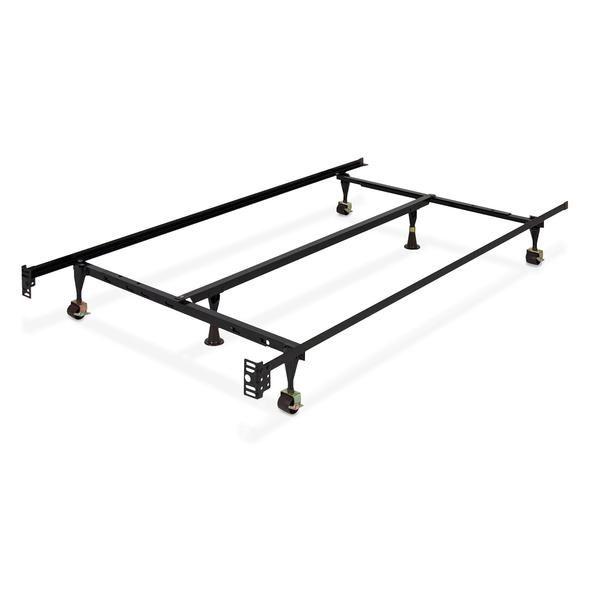 Adjustable Metal Bed Frame W Locking Wheels With Images Metal