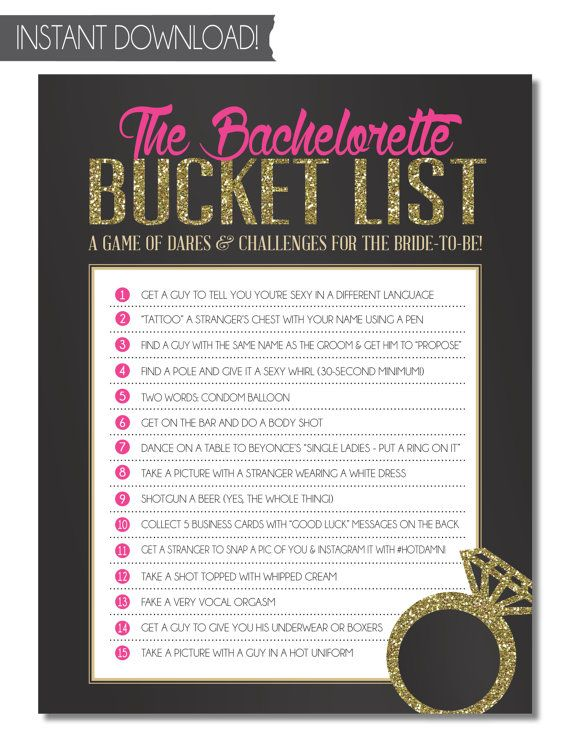 Bachelorette Party Game - Bucket List {INSTANT DOWNLOAD!} Printable Bachelorette Game of Dares with Black, Pink & Gold/Silver Glitter