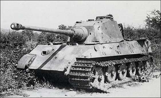 Tiger II number 312, 3. Kompanie - schwere SS Panzer Abteilung 501, in the springtime of 1945. This Tiger took two hits on the 150 mm thick glacis plate.