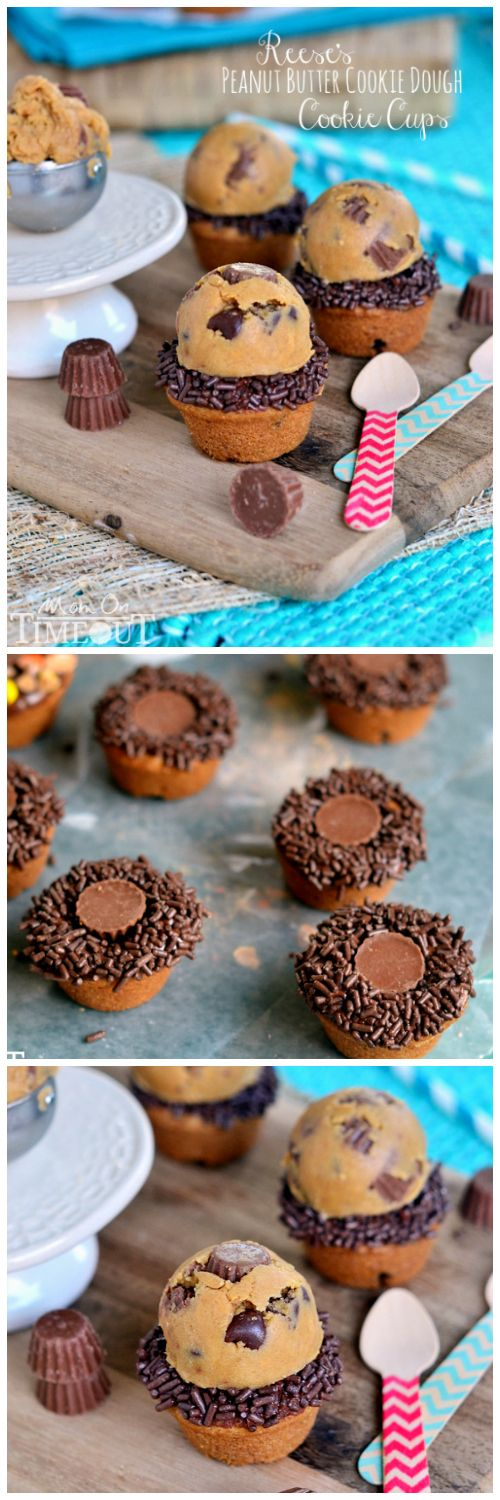 Reese's Peanut Butter Cookie Dough Cookie Cups | MomOnTimeout.com @Trish - Mom On Timeout