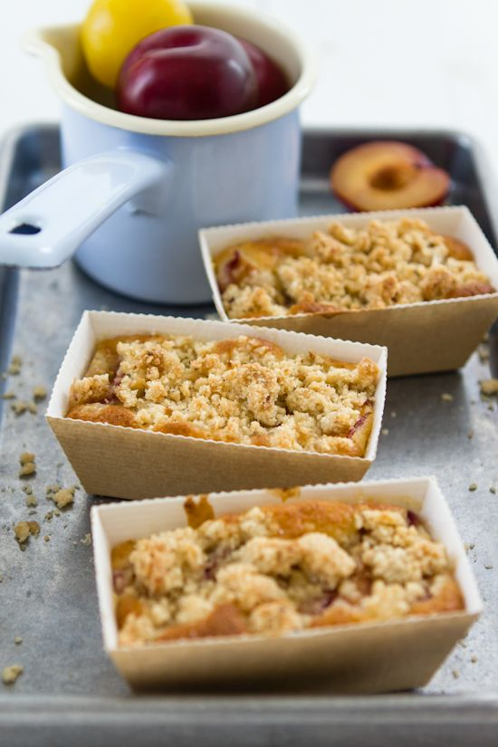 Plum Cakes with Coconut and Hazelnut Crumble
