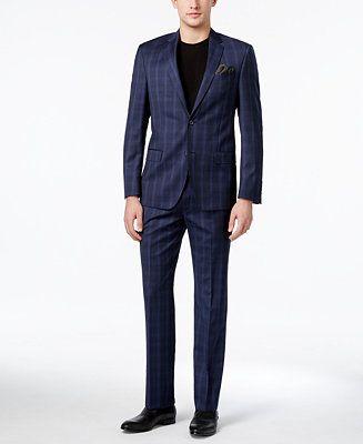 DKNY Men's Slim-Fit Blue Tonal Plaid Suit - Suits & Suit Separates - Men - Macy's