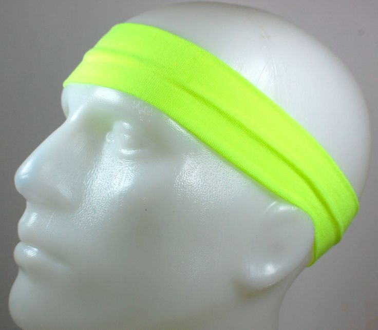 "NEW! 2"" Super Soft Neon Yellow Hair Band Head Sports Sweat Headband Stretchy"