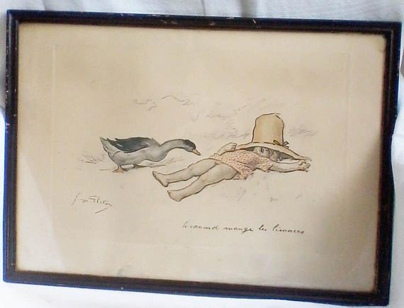 Original vintage item signed Georges Redon charcoal lithograph
