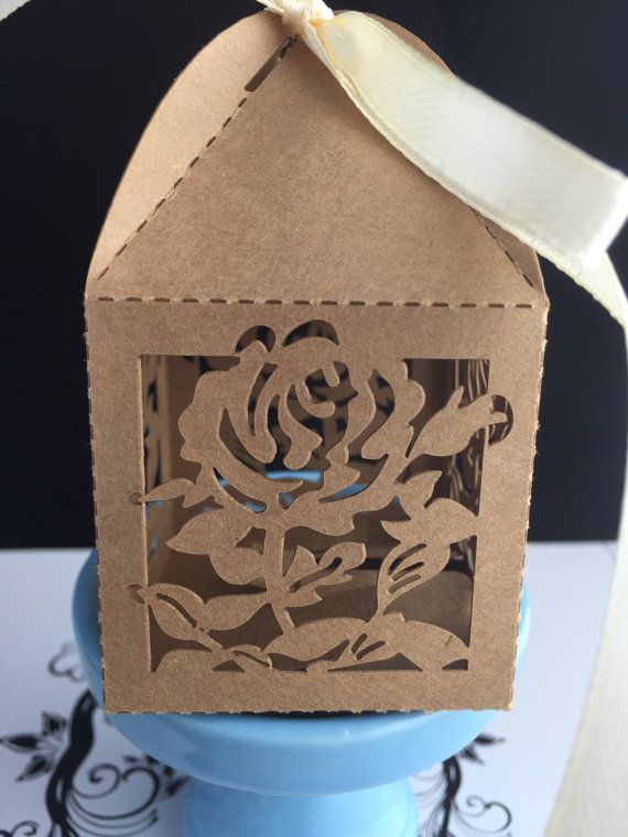 100pieces free shipping Rose Design Laser Cut Wedding Favor