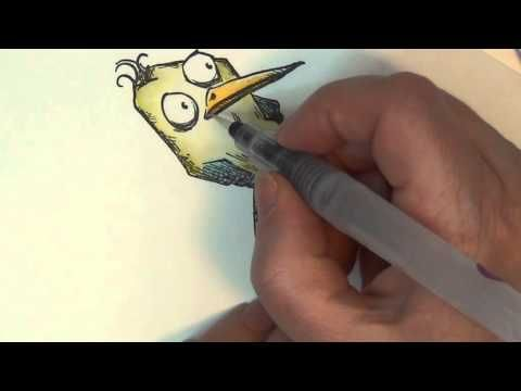 ▶ WATER COLOURING bird crazy stamp from Tim Holtz WITH DISTRESS INK - YouTube