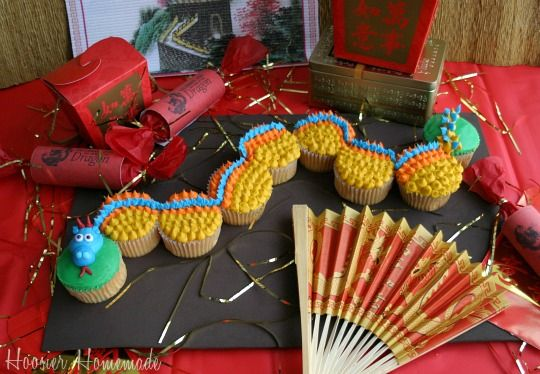 Dragon Cupcakes for Chinese NEw Year