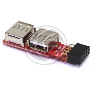 Pequeña placa de conversión de los conectores USB de placa madre a conector estándar USB A-Hembra. Las placas madre disponen de conectores USB de tipo cabezal de 2 x 5-pin (hembra). Este adaptador dispone en un lado de 2 x 5-pin (macho) que se conecta directamente a la placa madre.