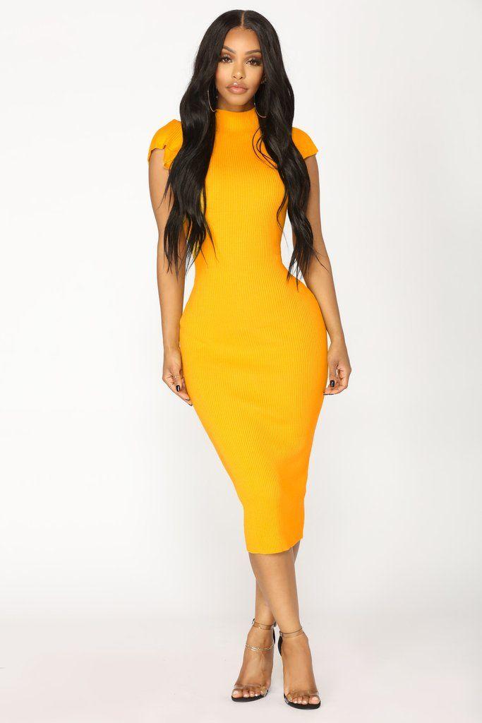 c410f34ae50 Maybelle Knit Dress - Mustard