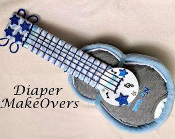 Chico pañal Cake - torta de pañales de guitarra - ducha - único bebé regalo - ducha centro de mesa - Baby Boy, bebé niña, género neutro