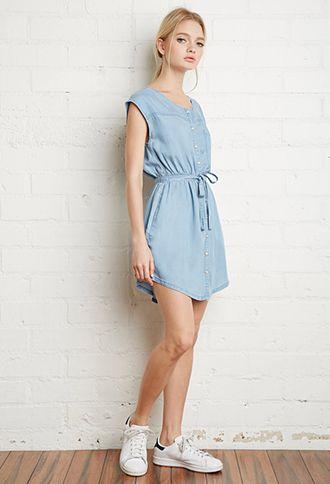 Snap-Button Denim Dress   Forever 21   #f21denim