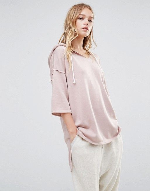 Daisy Street | Daisy Street Oversized Short Sleeved Hoodie With Step Hem