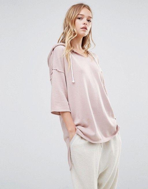 Daisy Street | Daisy Street Oversized Short Sleeved Hoodie With Step Hem