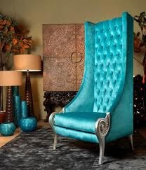 love the colour: Queen, Color, Interiors, Photo Props, Alice In Wonderland, Master Bedrooms, Blue Chairs, Armchairs, High Back Chairs