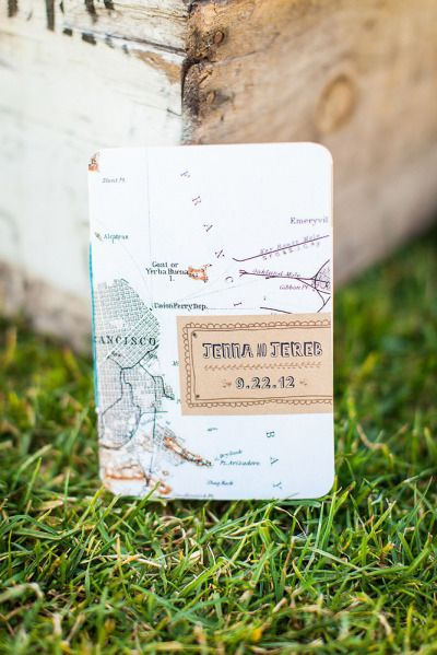 Love this map invitation! Photography by katewebber.com/  Read more - http://www.stylemepretty.com/2013/08/08/san-francisco-wedding-from-kate-webber-and-taste-catering-event-design/