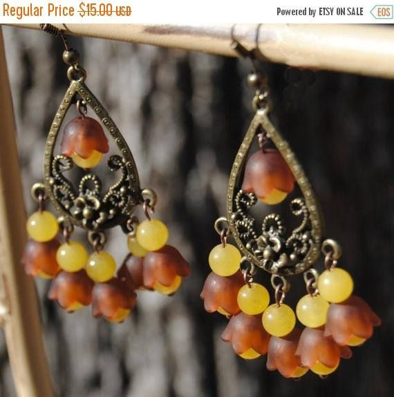 ON SALE 50% OFF Chandelier Tulip Earring  Yellow and Brown