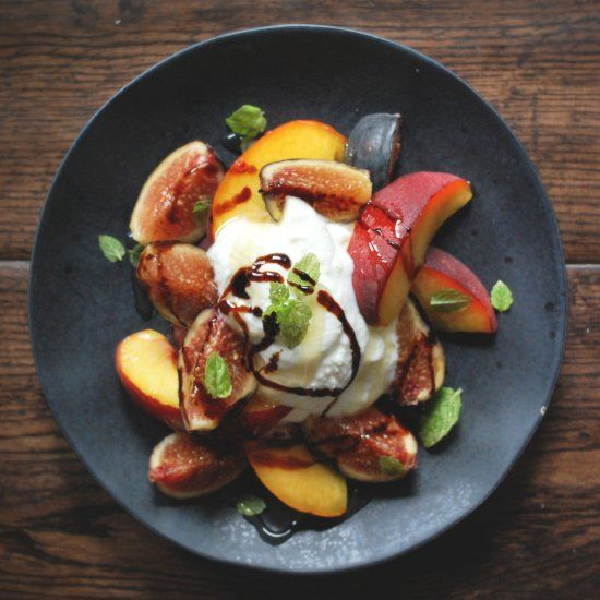 Homemade whole milk ricotta with stone fruits, fresh figs, honey and a ...