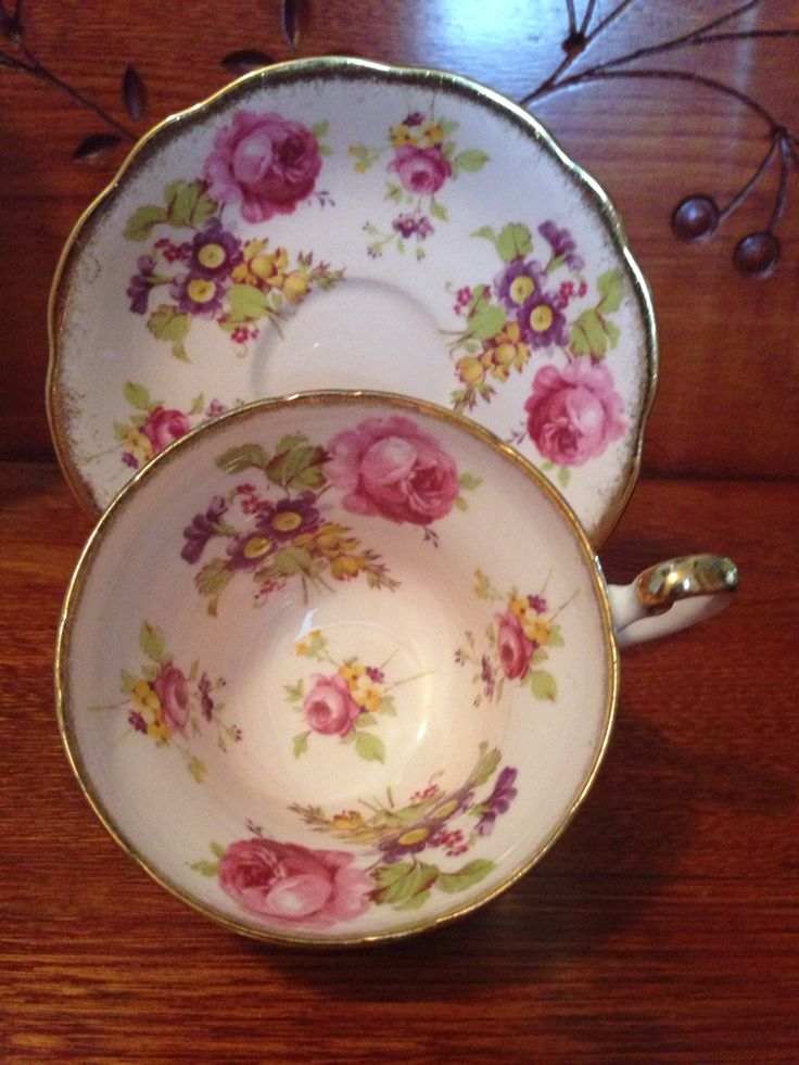 Foley Bone China, England. 1950's Teacup & Saucer. Researched Value $44.99 US.