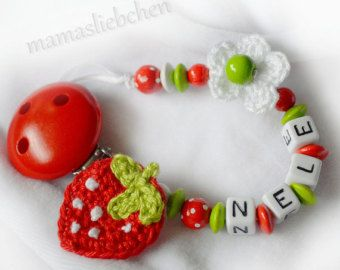 Pacifier clip chain / Dummy holder, keeper personalized with name & crocheted strawberry, flower (item 14444)
