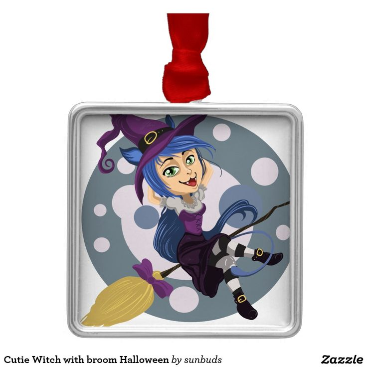Cutie Witch with broom Halloween Metal Ornament