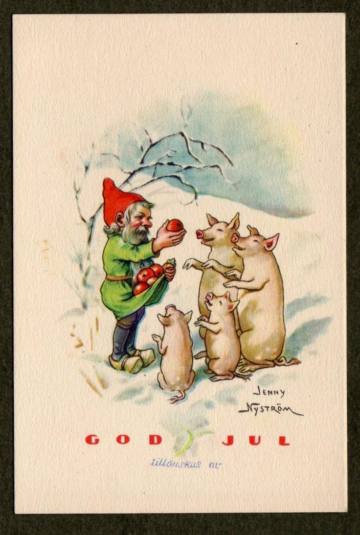 Tomte and Christmas pigs - Jenny Nystrom Swedish mini postcard. $8.00, via Etsy.