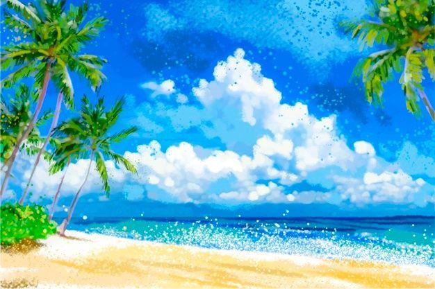 Premium Vector Colorful Summer Background Concept In 2021 Summer Landscape Summer Backgrounds Spring Landscape