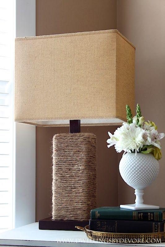update an old lamp by wrapping it in jute