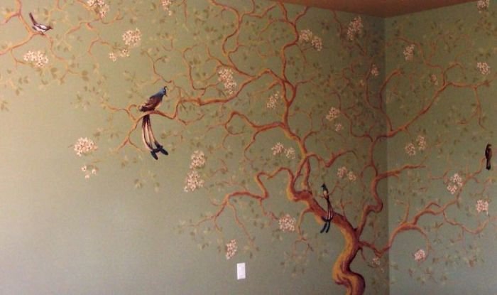 Large oriental cherry blossom tree mural artwork for Cherry tree mural