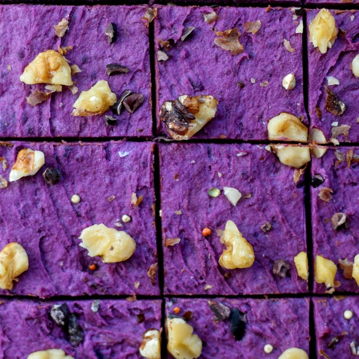 Raw Vegan Brownies with Chocolate Frosting and Purple Sweet Potato Frosting - Laws of Bliss